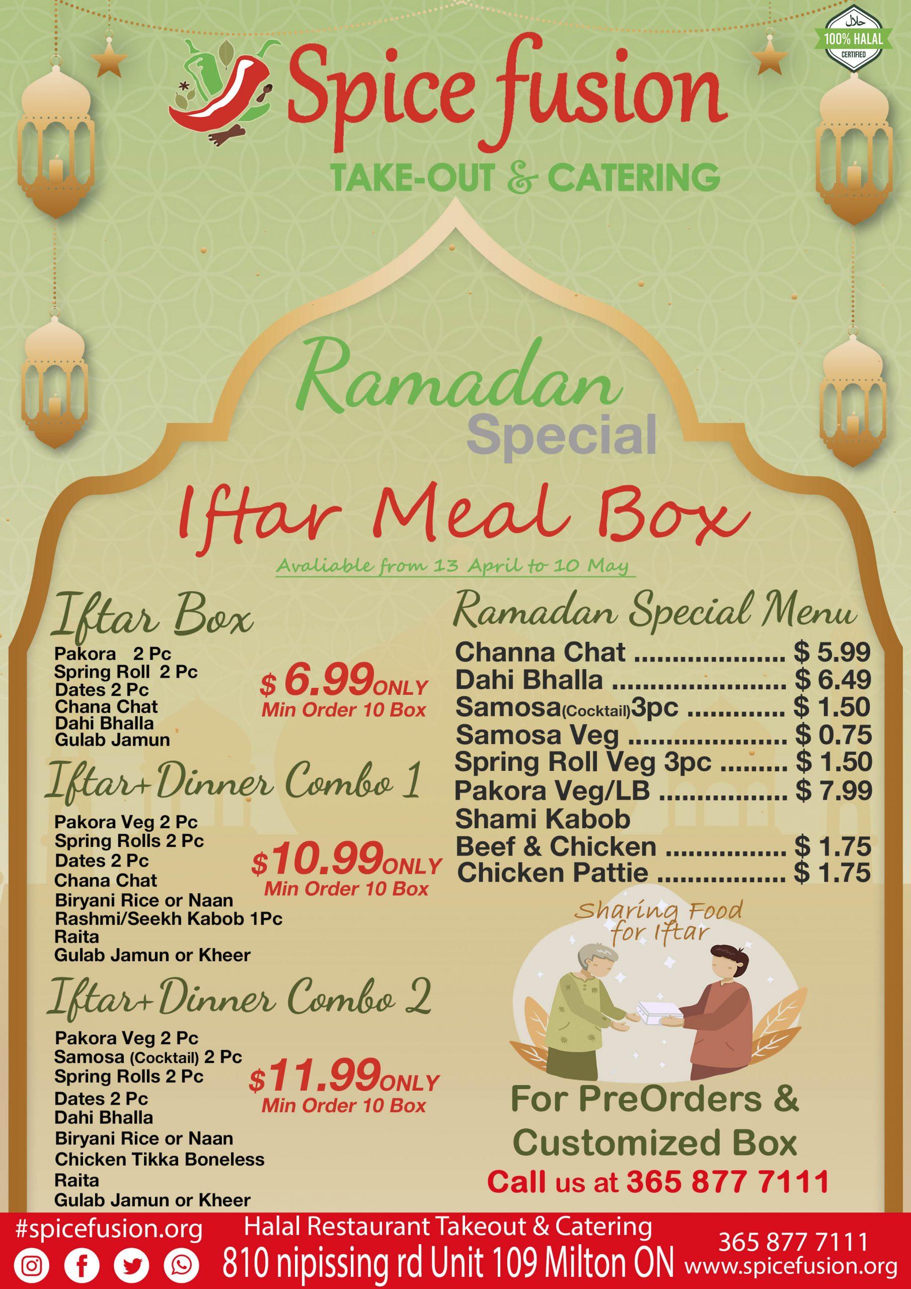Ramadan Menu 2021 Finial